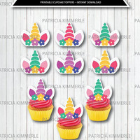 Printable Cupcake Toppers, Unicorn Party, Unicorn Birthday,Rainbow, Mythical, Magical, Whimsical , Favor, Decoration, DIY, INSTANT DOWNLOAD
