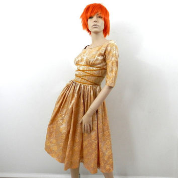 Teena Paige Dress Metallic Gold Rose Brocade Cocktail Dress from the 1950's