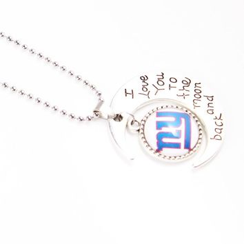 US Football Jewelry Women Men Necklaces New York Giants Team Logo Glass Pendants With 50cm Bead Chain Necklace 10pcs/lot