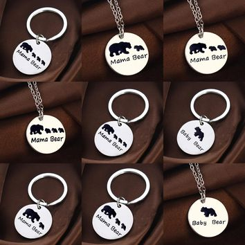 Cute MAMA Bear Silver Pendant Chain Necklace For Women Mothers Day Gifts Mom Necklaces Jewelry Family Love Charm