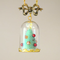 Handmade Christmas tree terrarium necklace, needle felt mini Christmas tree in glass dome pendant, whimsical holidays jewelry, gift under 20