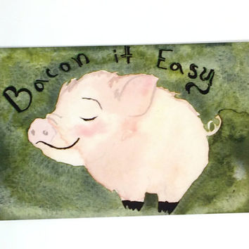 Cute Happy Painted Piglet Postcards Pack of 10 - Ten Watercolor Retirement Themed Postcard Prints - Printed Pack of 10 painted Pig Postcards