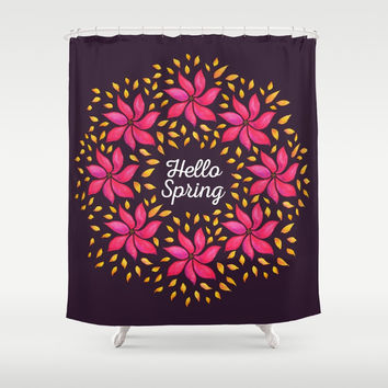 Hello Spring Watercolor Flowers Wreath Shower Curtain by borianagiormova