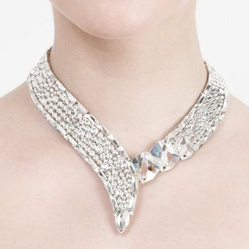 Crystal Collar Baguette Necklace - Crystal