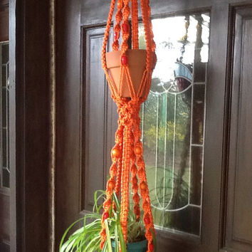 Macrame Plant Hanger, orange two tier, double hanger with wooden  beads,  vibrant 4 mm Polyolefin cord,vintage style