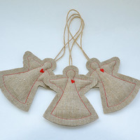 Burlap Angel Decoration | Rustic accessory | Flax home decor | Primitive Christmas Ornament