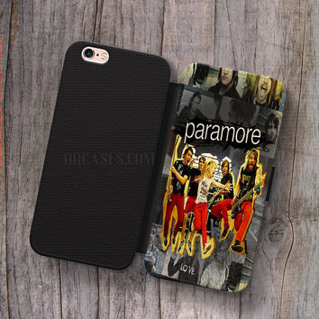 Wallet Leather Case for iPhone 4s 5s 5C SE 6S Plus Case, Samsung S3 S4 S5 S6 S7 Edge Note 3 4 5 Paramore Rock Band Colage Cases