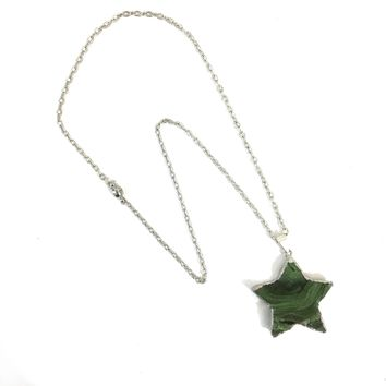 Green Natural Crystal Star Pendant on Silver Plated Chain