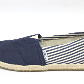 Toms Women's Classic Navy Blue Stripe University Shoes
