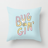 Totally Buggin' Throw Pillow by MidnightCoffee