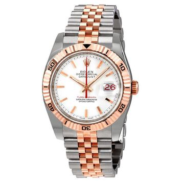 Rolex Datejust White Index Dial 18k Rose Gold Turn-o-Graph Bezel Jubilee