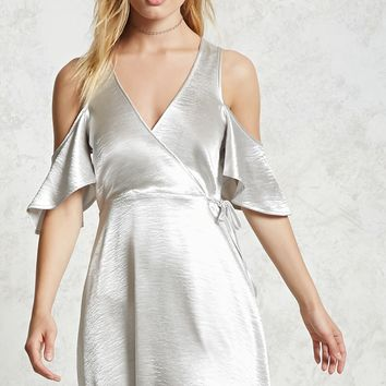 Metallic Open-Shoulder Dress