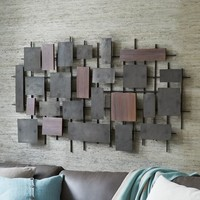 Hammered Metal + Wood Wall Art