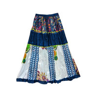 Mogulinterior Hippie Boho Skirt Blue Patchwork Floral printed Tiered Long Maxi Cotton Skirts