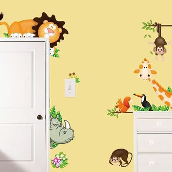 Cartoon wall stickers for kids room Nursery room sticker wall decals home decorations mural art Elephant Lion Monkey Giraffe