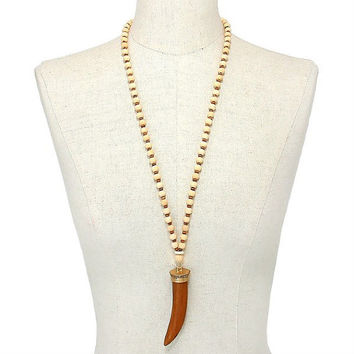Gold & Brown Horn Pendant Wooden Bead Strand Long Necklace