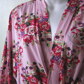 Rose Print Asian Robe in Candy Pink; Women's Small Pink Lounge Robe in Soft Rayon, w/ Initial S; Monogram S Robe; U.S. Shipping Included