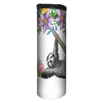 Boho Sloth Barista Tumbler Travel Mug - 17 Ounce, Spill Resistant, Stainless Steel & Vacuum Insulated