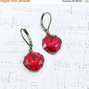 SPRING SALE Red Rhinestone Earrings Cushion Cut Earrings Rhinestone Dangle Earrings Red Earrings Holiday Gift for Her