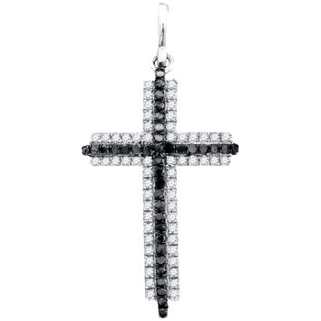 Diamond Cross Pendant in 10k White Gold 0.23 ctw