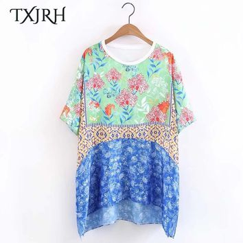 TXJRH Vintage Ethnic Floral Pattern T-Shirt O-Neck Pullover Short Sleeve Fashion Women Casual HI-LO Tee Tops Loose Undershirt
