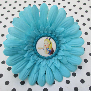 SALE Alice in Wonderland hair clip Disney flower bow bottle cap hair accessories cheshire cat cute kawaii fun woman teens girls blue punk