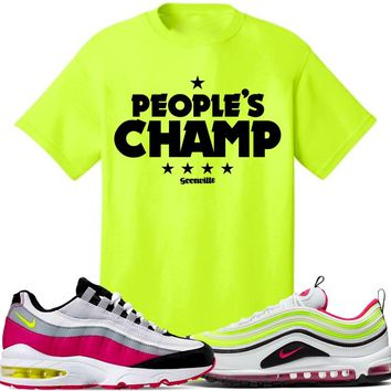 Air Max White Rush Pink Volt Sneaker Tees Shirt to Match - PEOPLES CHAMP