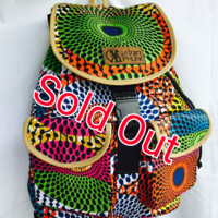 African Print Back Pack-Pink /Green Concentric
