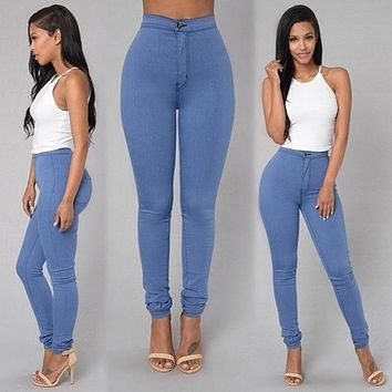 Solid Wash Skinny Jeans Woman High Waist