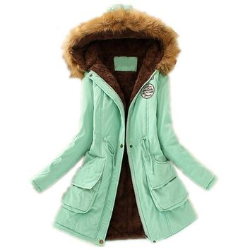 Winter Womens Parka Casual Outwear Military Hooded Coat Winter Jacket Women Fur Coats Women's Winter Jackets And Coats