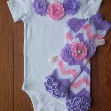 Lavender & Pink Shabby Flower Onesuit Leg Warmers and Headband Set, infant, toddler, baby girl, 1st Birthday, Photo Prop, Cake Smash Set