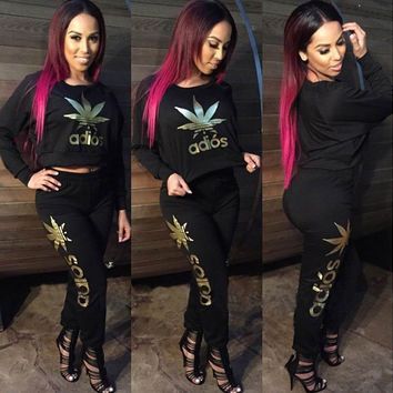 Black Adios Gold Print Sweatshirt and Pants Suit