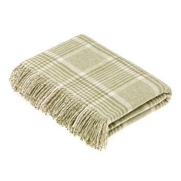 Merino Lambswool Prince of Wales Check Sage Throw Blanket