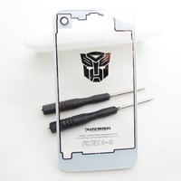 [Aftermarket Product] Back Glass Autobots Transformer Clear White Transparent Replacement Battery Cover Back Cover Includes Free Tool and Camera Ring only for ATT iPhone 4 (Not Fit Verizon/sprint Iphone 4,Not Fit Iphone 4s)