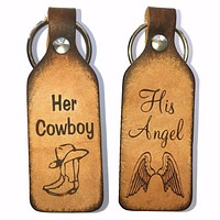 Her Cowboy & His Angel Couples Leather Keychains