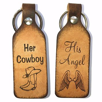 Her Cowboy & His Angel Leather Keychains