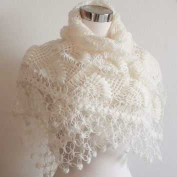 Bridal Shrug and Bolero Shawl // Winter Wedding  //Bridal accessories //  Bridal clothing / Crochet Shrug / Ivory Shrug