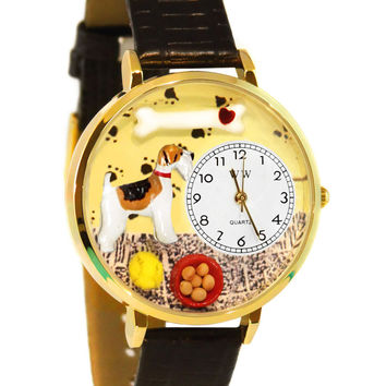Whimsical Watches Fox Terrier Black Skin Leather And Goldtone Watch