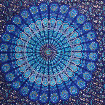 Indian Mandala Tapestry 100% Pure Cotton Wall Hanging, Twin Bed Cover, Bohemian Dorm, Decor Wall Hanging