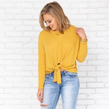 Knot Sorry Yellow Ribbed Top