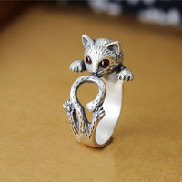 New Fashion Animal Ring Zinc Hippie Vintage Anel Punk Kitty Wedding Ring Boho Chic Retro Cat Rings for Women Party Rings