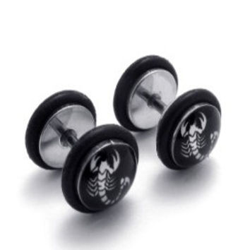 Stainless Steel Scorpion Fake Plugs Earrings-Color Black