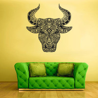 Wall Vinyl Sticker Decals Decor Art Bedroom Design Mural Animal Bull Head Menhdi Tatoo Curly (z2080)