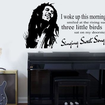 "Popular Bob Marley ""Three Little Birds"" Quote Wall Art Sticker Vintage Wall Decor Stickers PVC Vinyl Curving Mural NY-309"