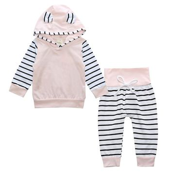 New Spring Baby Girls Clothes Sets Fashion Cotton Long Sleeve Hoodies + Trousers 2pcs Newborn Baby Boys Girls Clothing Sets