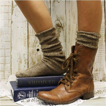 ESSENTIALS basic slouch socks - brown