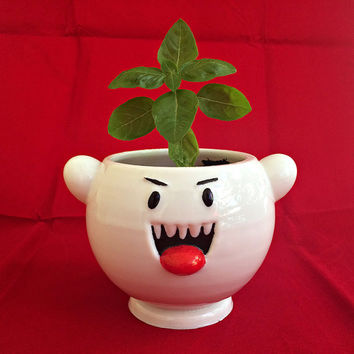 Super Mario Boo Ghost Planter, cute ghost, monster, video games, retro, nintendo