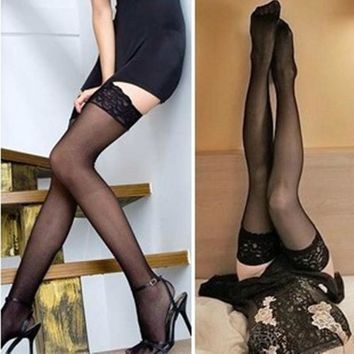 2pairs/Lot Sexy Women Fashion Ultrathin Lace Top Sheer Thigh High Silk Stockings Long welly fish net stockings sexy stocking