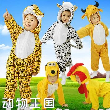 Children Kids Girls Boys Winter Unisex Jumpsuit Cosplay Costume Animal Onesuit Suit Dog Pikachu Dinosaur Elephant Pig B-5267