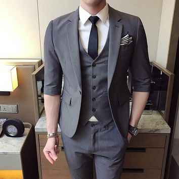 MarKyi 2017 fashion half sleeve men suits and blazers slim fit good quality mens designer clothes casual male suits size s-3xl